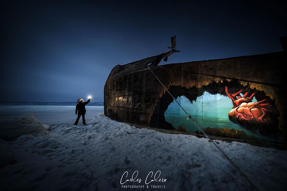 Viaje Fotográfico Lago Baikal - Embarcaciones encalladas en el hielo